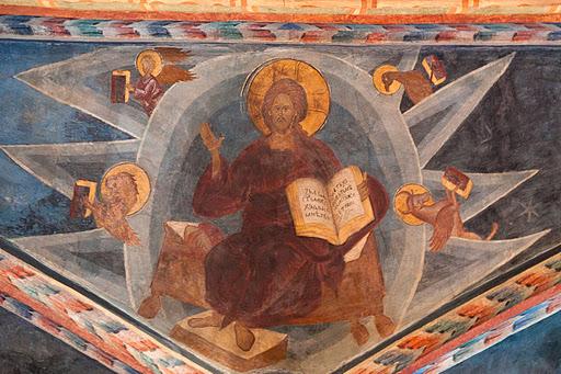 1 bizantyjsko ruski fresk chrystusa pantokrata w kaplicy zamkowej A